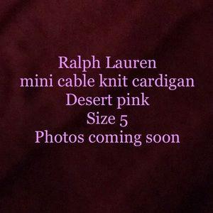 Ralph Lauren Cable knit cardigan sweater Sz 5 Pink